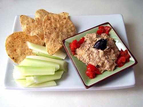 multi grain crackers, celery, & hummus