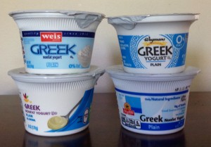 plain store brand greek yogurts