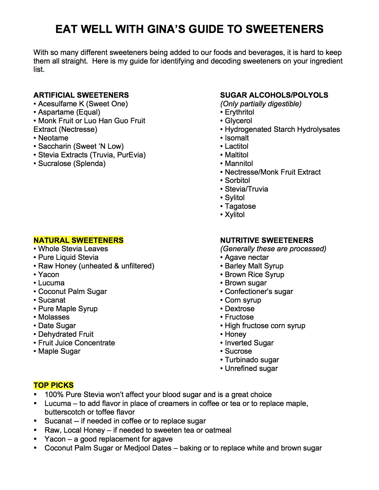 SWEETENERS CHEAT SHEET copy