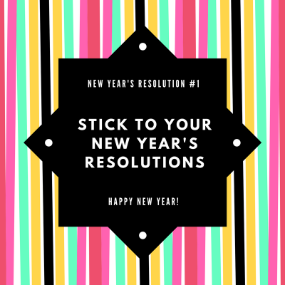 Colorful Neon Stripes and Black New Year Social Media Graphic