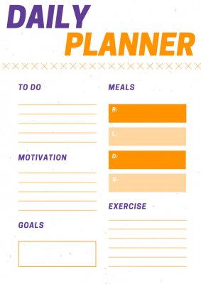 Daisy and Orange Cross Workout Planner